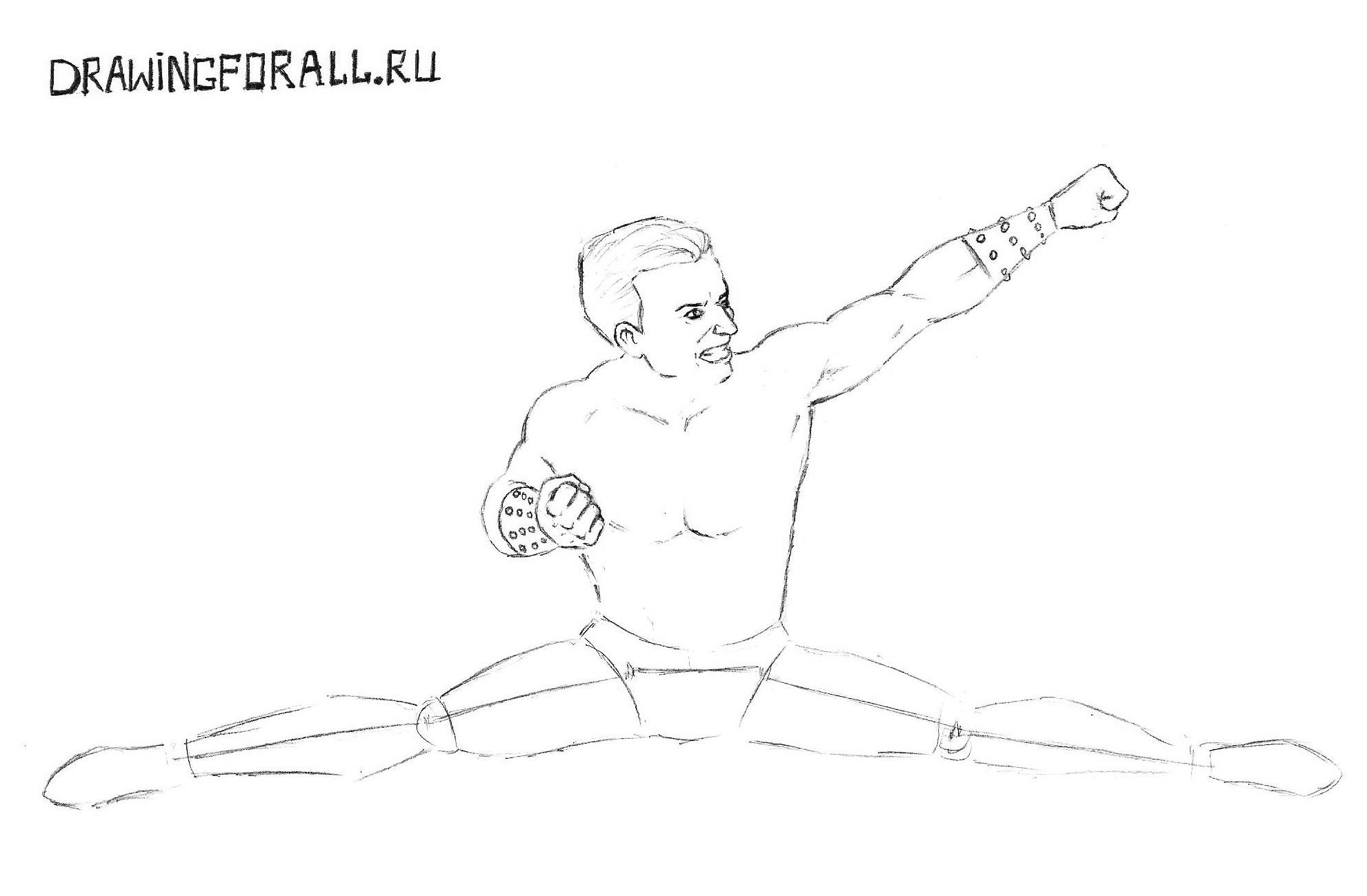 Как нарисовать карандашом поэтапно Мортал Комбат