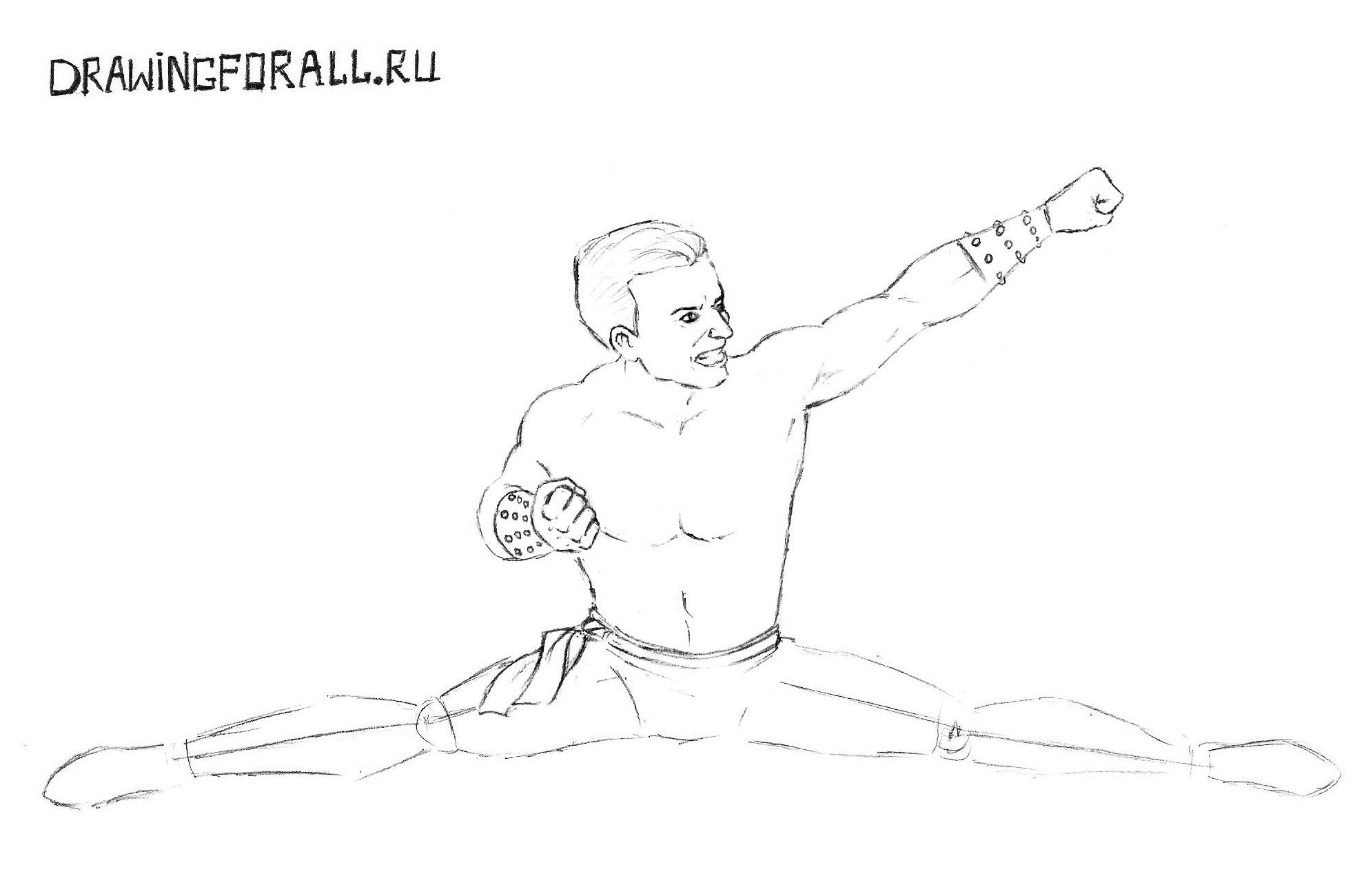 Мортал Комбат как нарисовать Джонни Кейджа