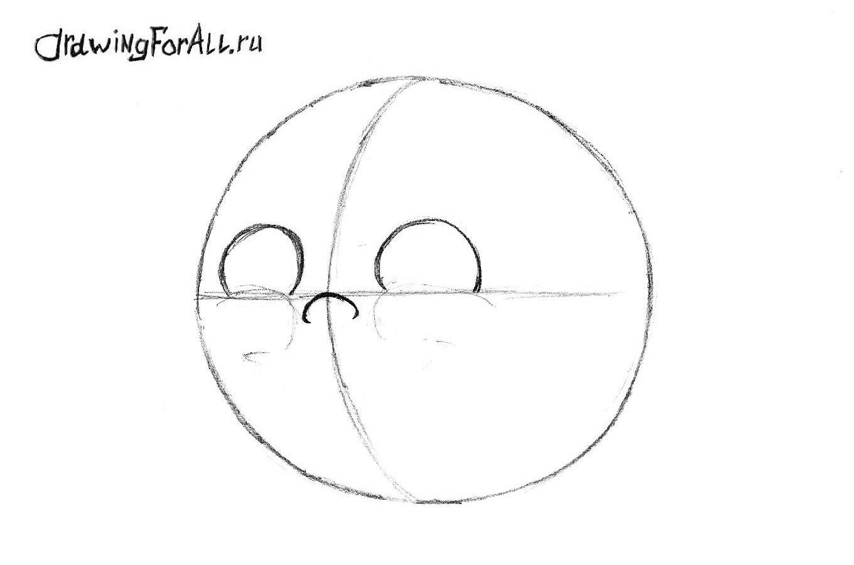 как нарисовать колобка карандашом