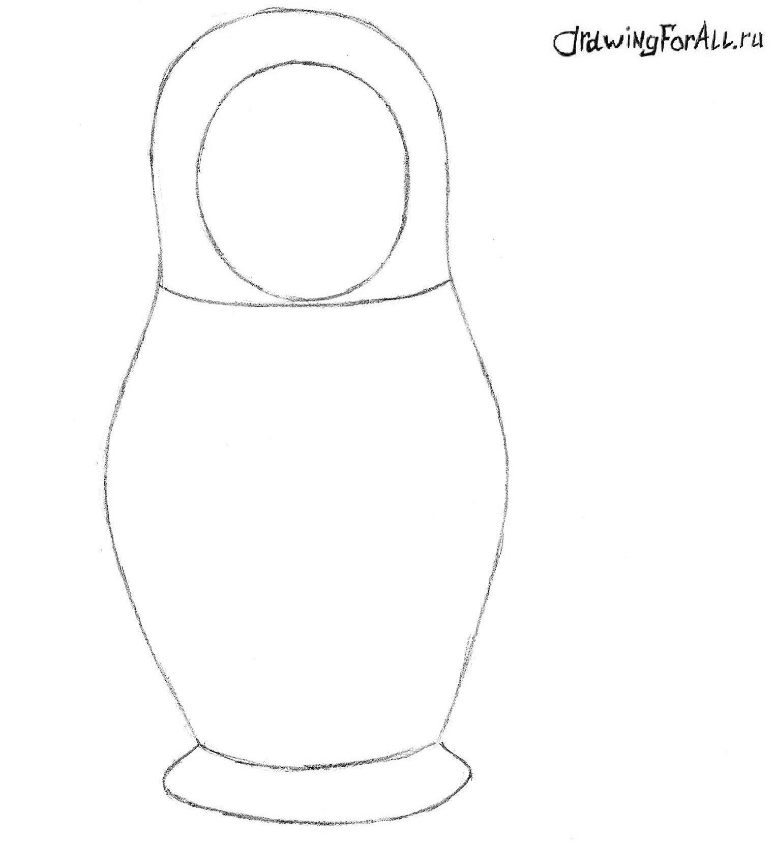 как нарисовать матрёшку карандашом