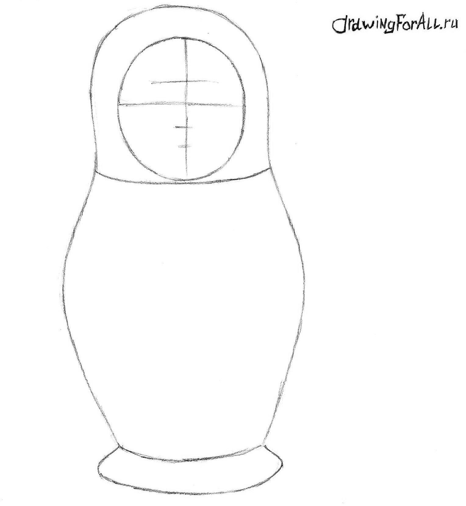 как нарисовать матрёшку поэтапно карандашом