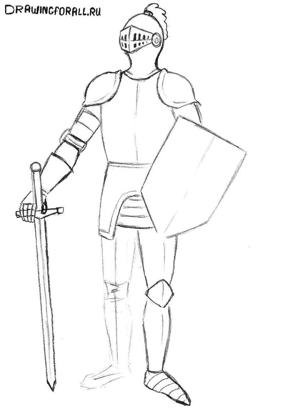 как нарисовать рыцаря в доспехах поэтапно