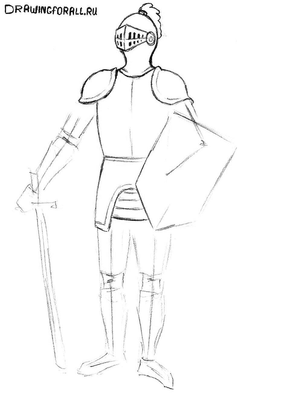 как нарисовать рыцаря в доспехах