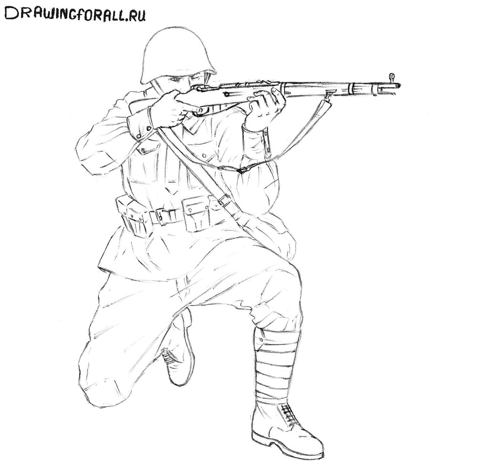 Как нарисовать солдата красной армии