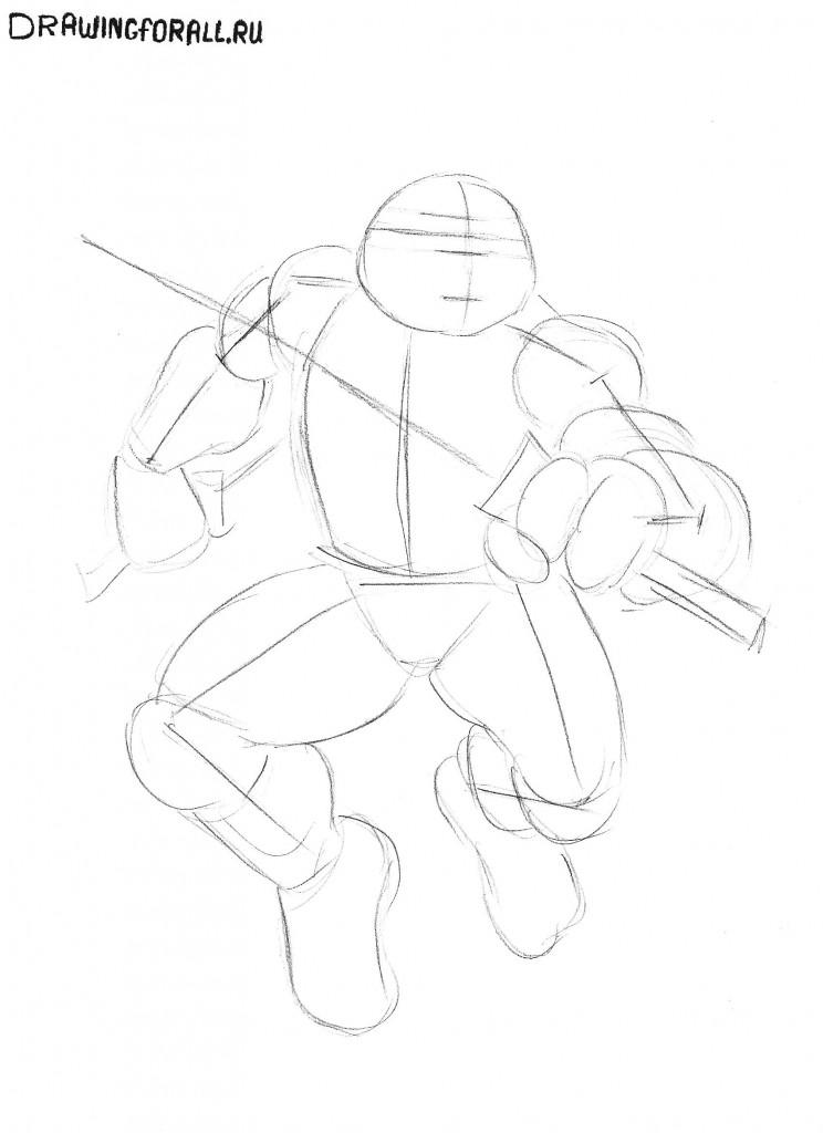 Как нарисовать черепашек ниндзя Лео