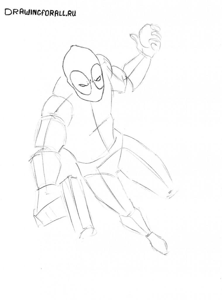 как нарисовать Дэдпула карандашом поэтапно