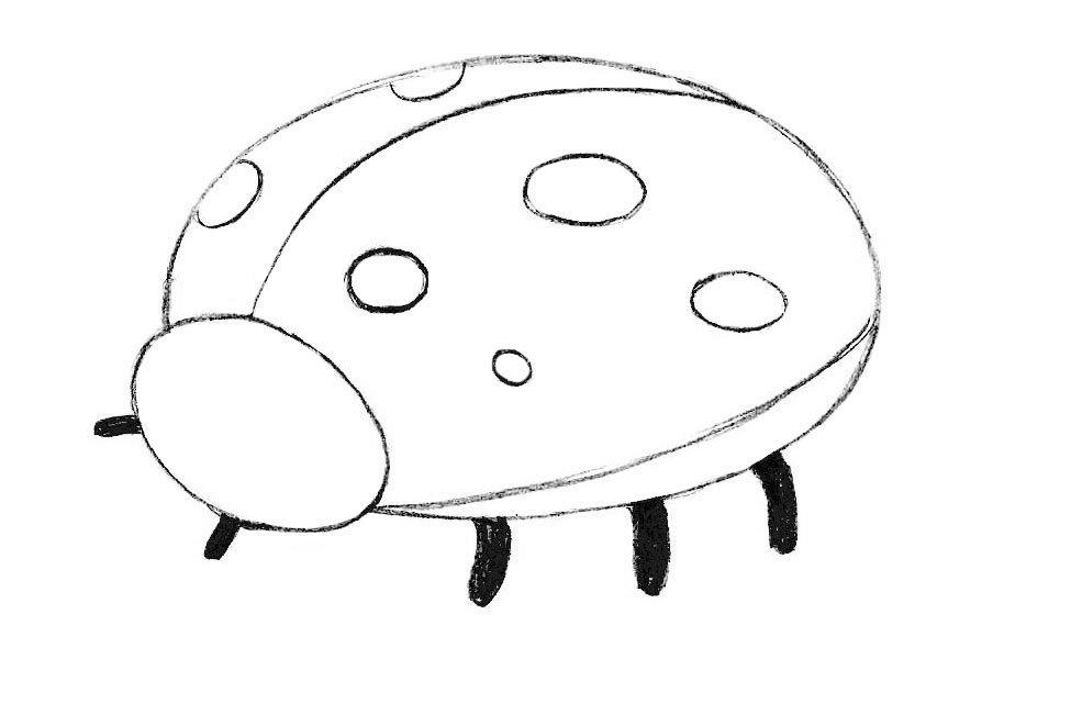 как нарисовать божью коровку