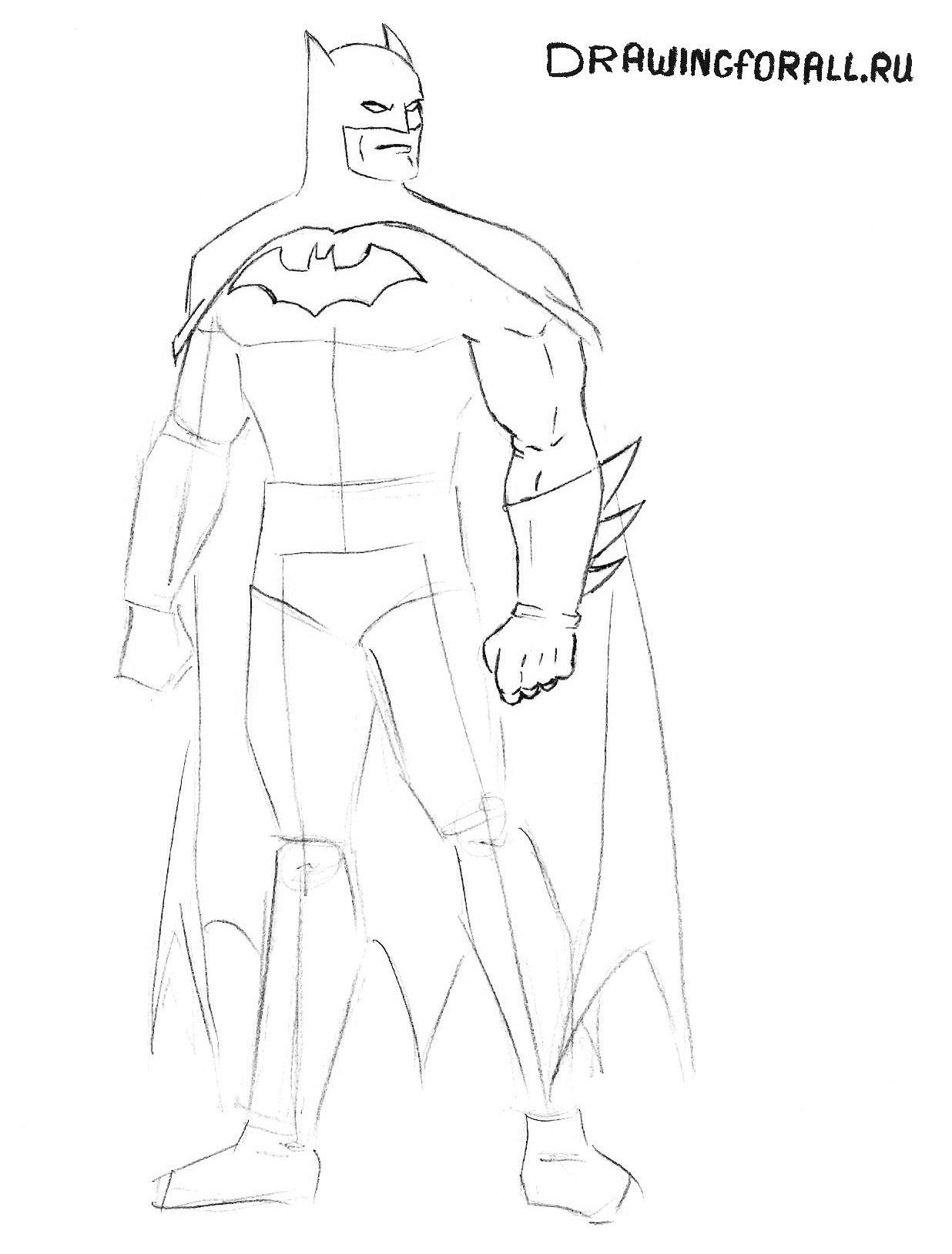 как нарисовать бэтмена карандашом поэтапно