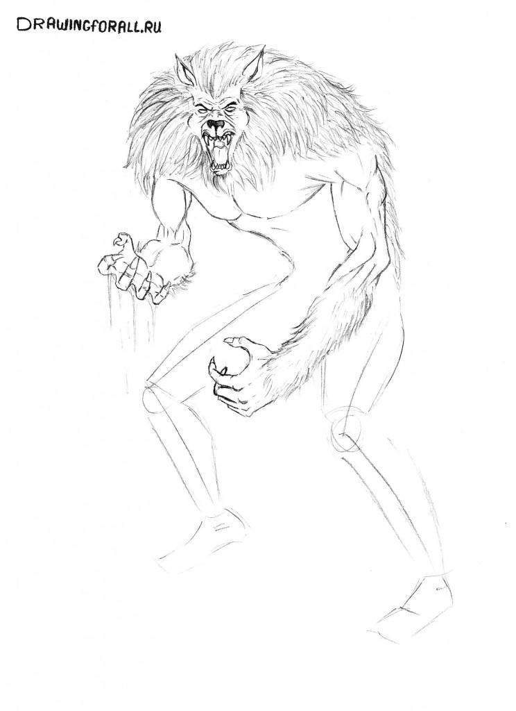 как нарисовать вервольфа поэтапно