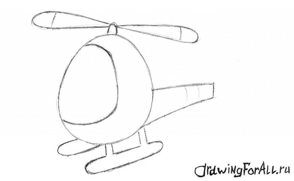 как нарисовать вертолёт карандашом поэтапно
