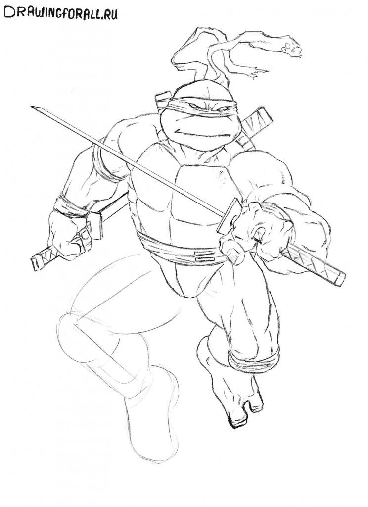 как нарисовать всех черепашек ниндзя