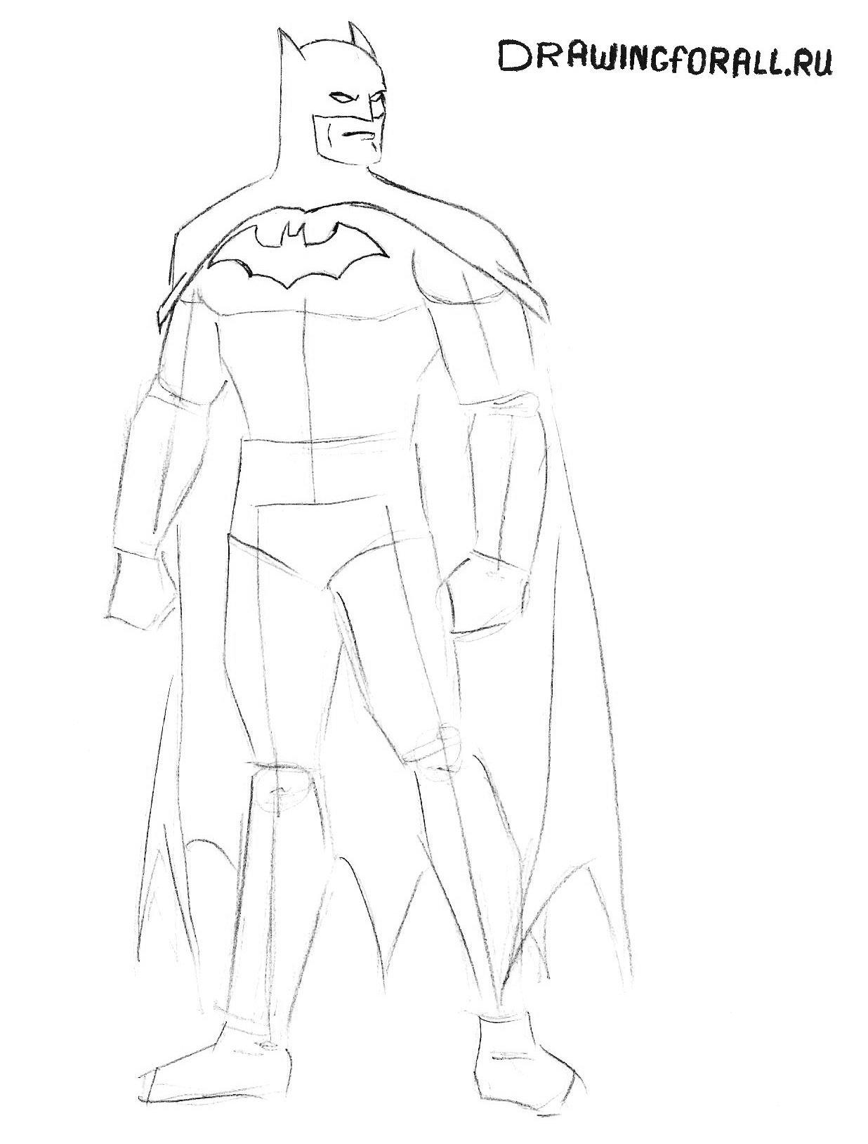 как нарисовать лицо Бэтмена