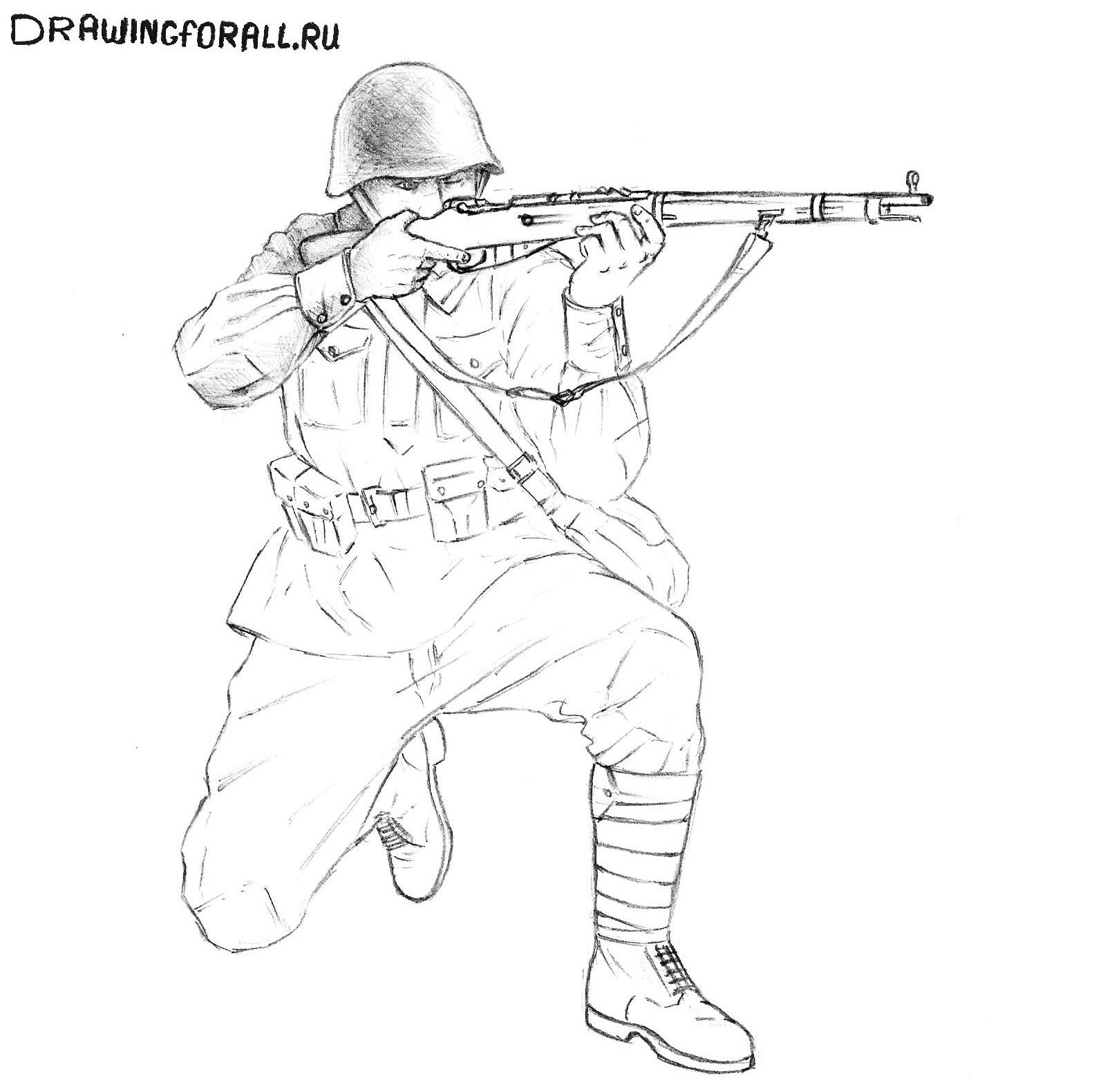 как нарисовать лёгкого солдата