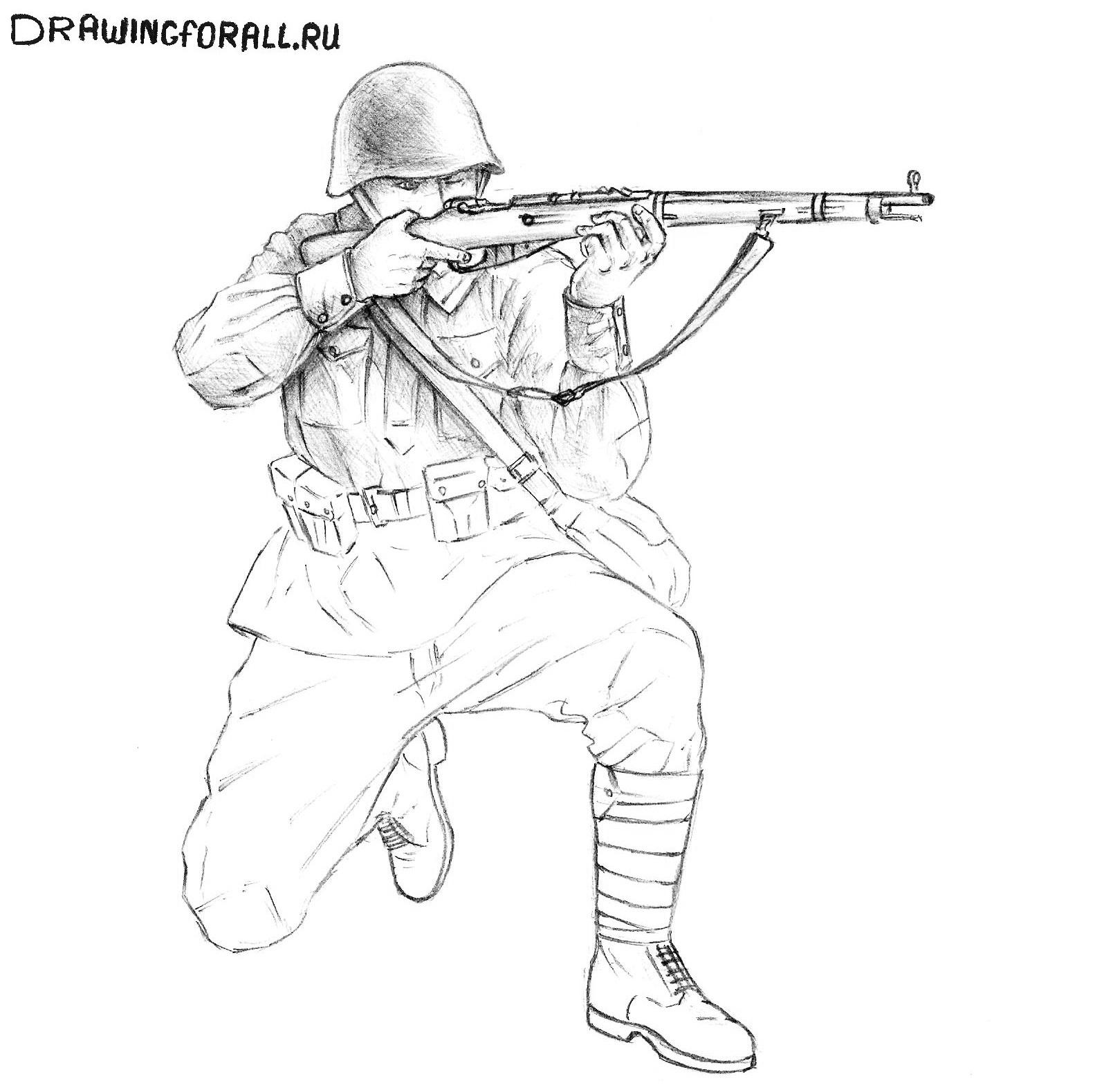 как нарисовать русского солдата поэтапно