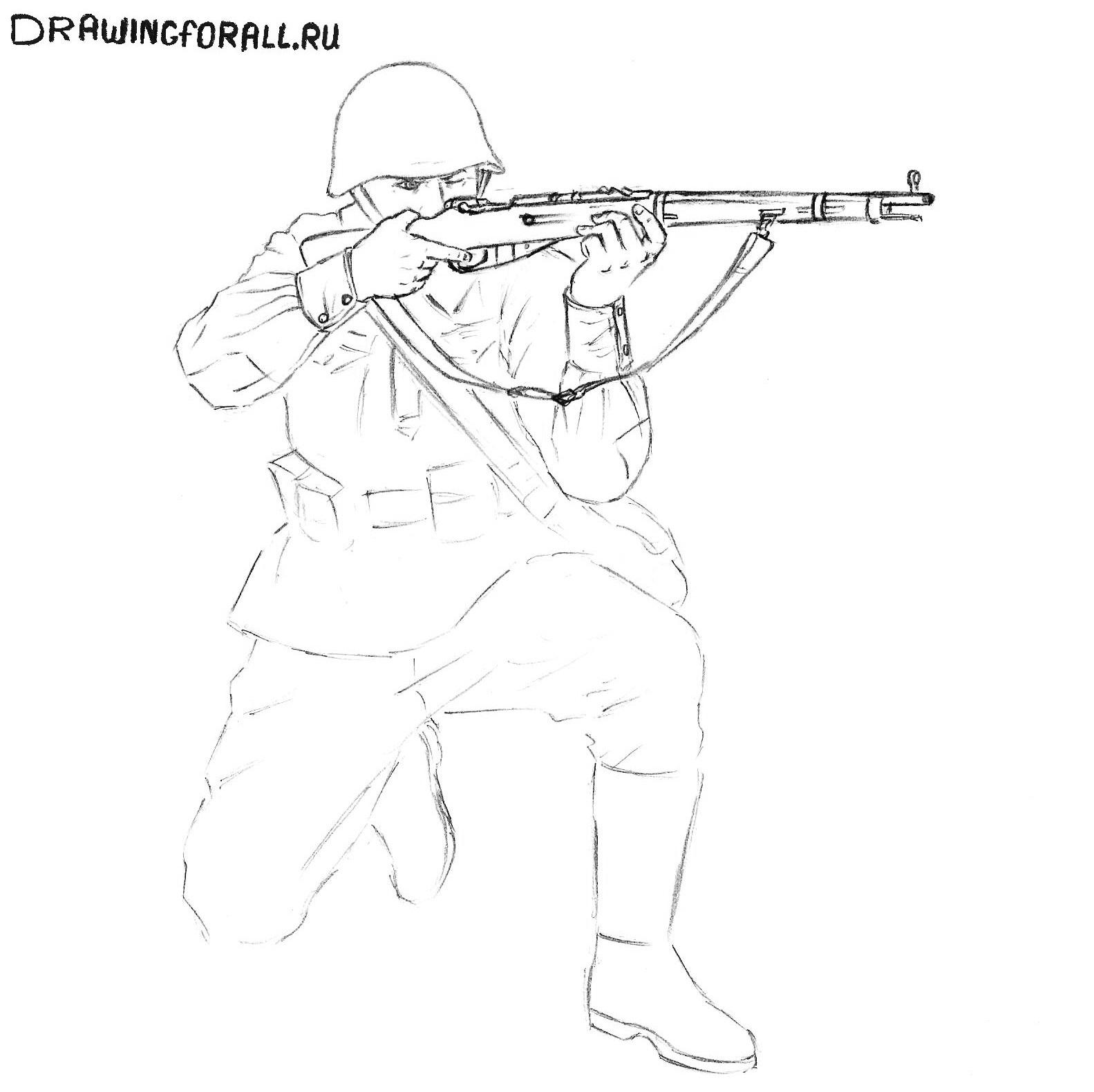 как нарисовать русского солдата