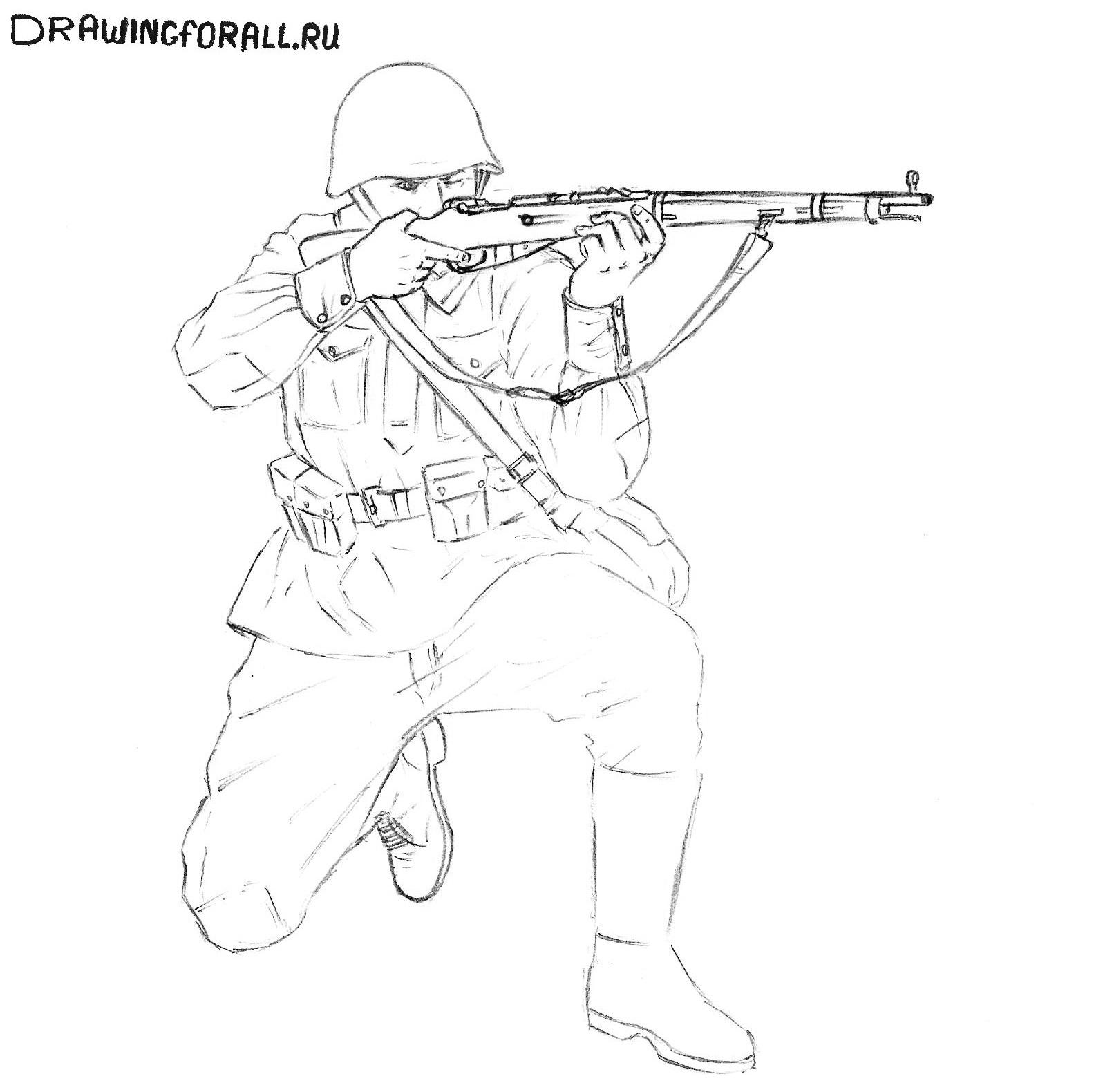 как нарисовать солдата на войне
