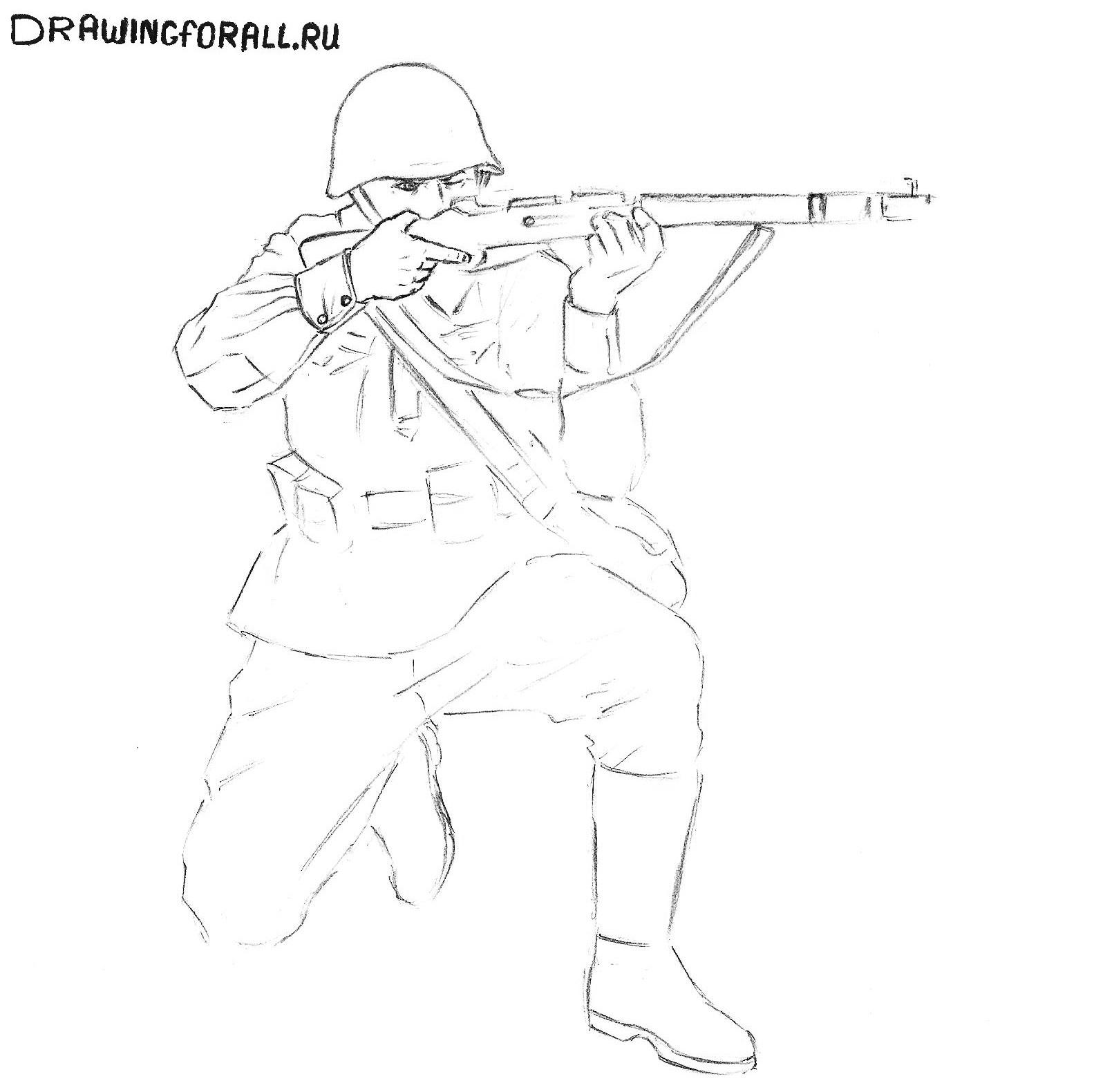 как нарисовать солдата ребёнку поэтапно