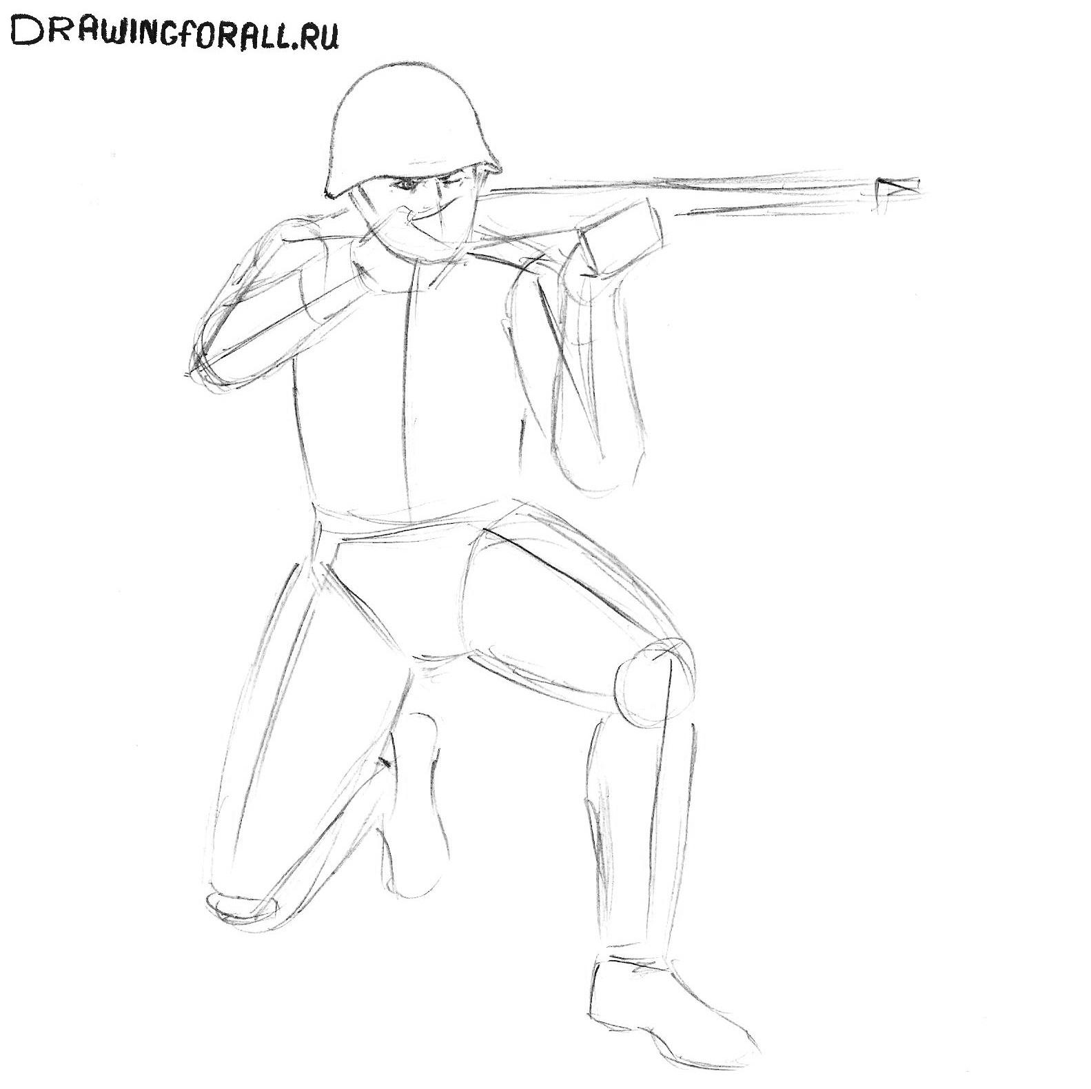 как нарисовать солдата ребёнку