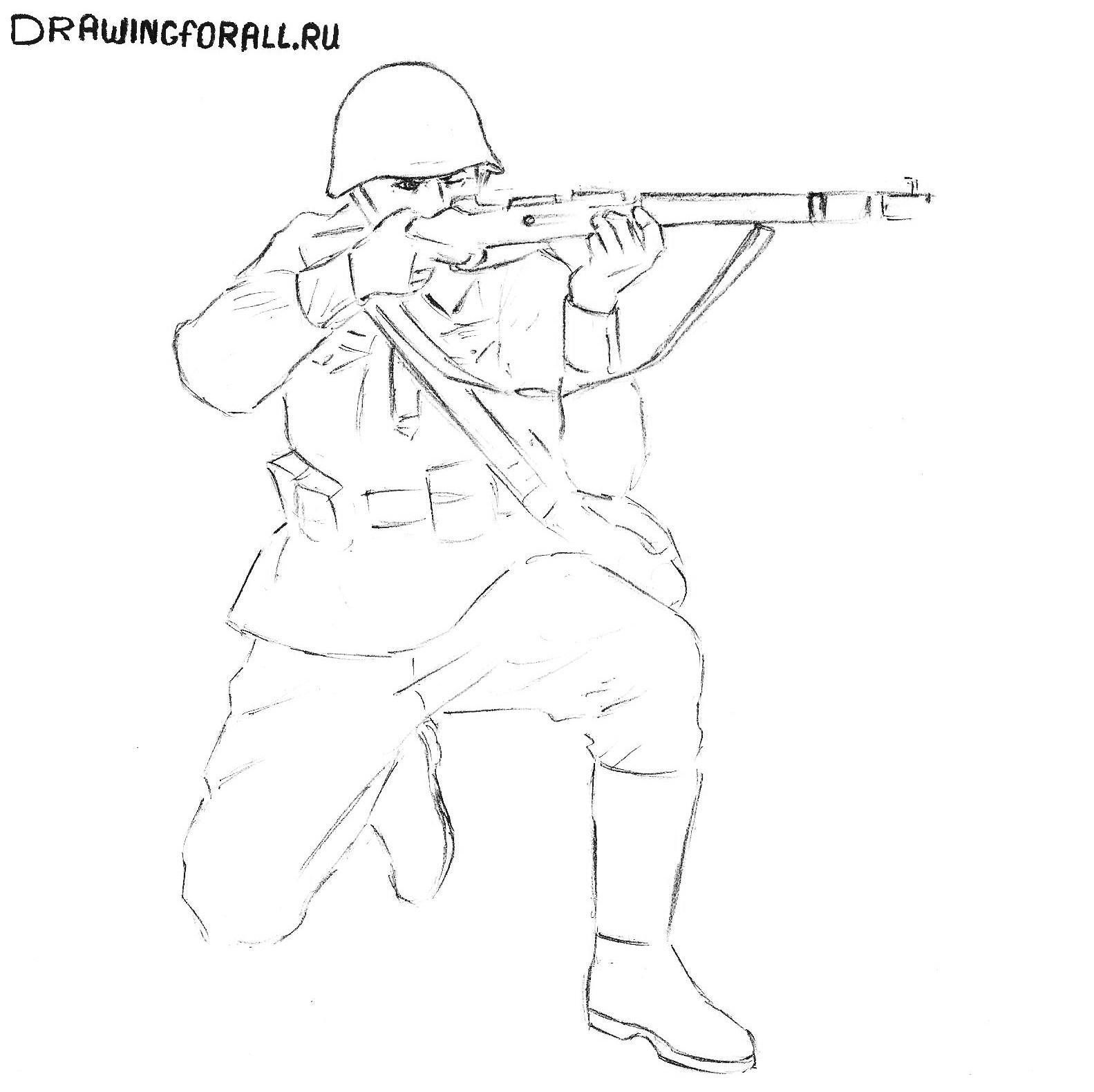 как нарисовать солдата с оружием