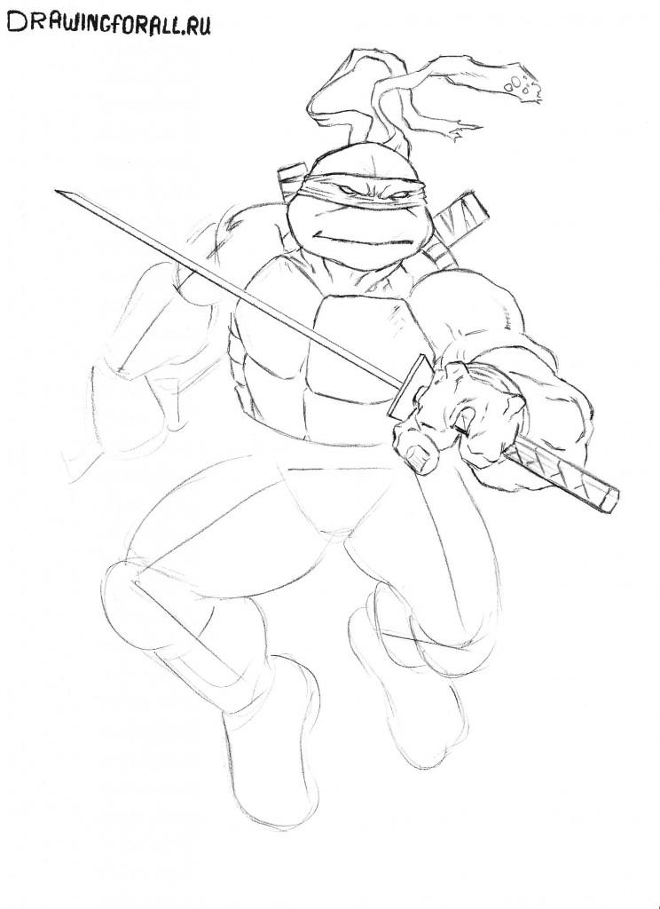 как нарисовать черепашек ниндзя карандашом