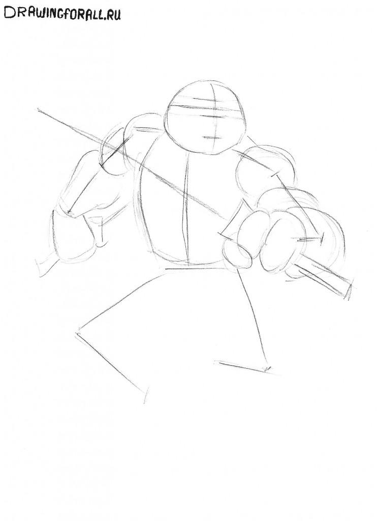 как нарисовать черепашек ниндзя