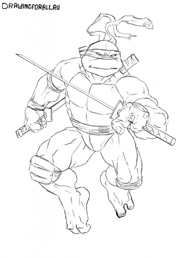 как нарисовать черепашку ниндзя Лео