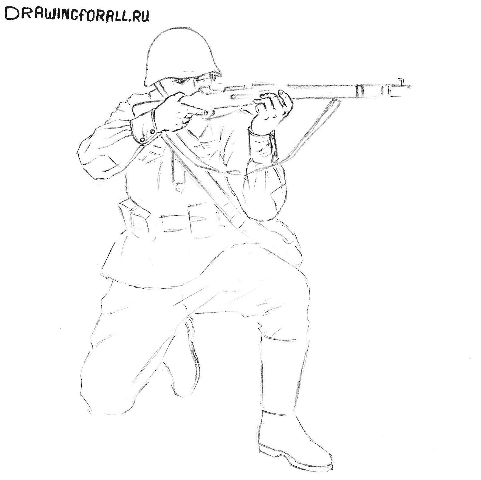 рисуем солдата