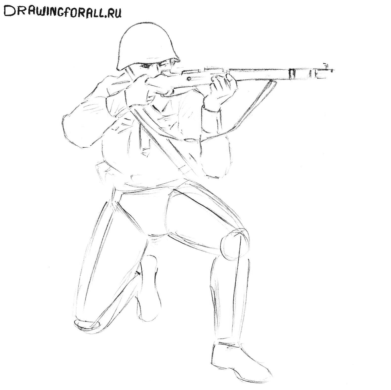 солдаты картинки нарисованные