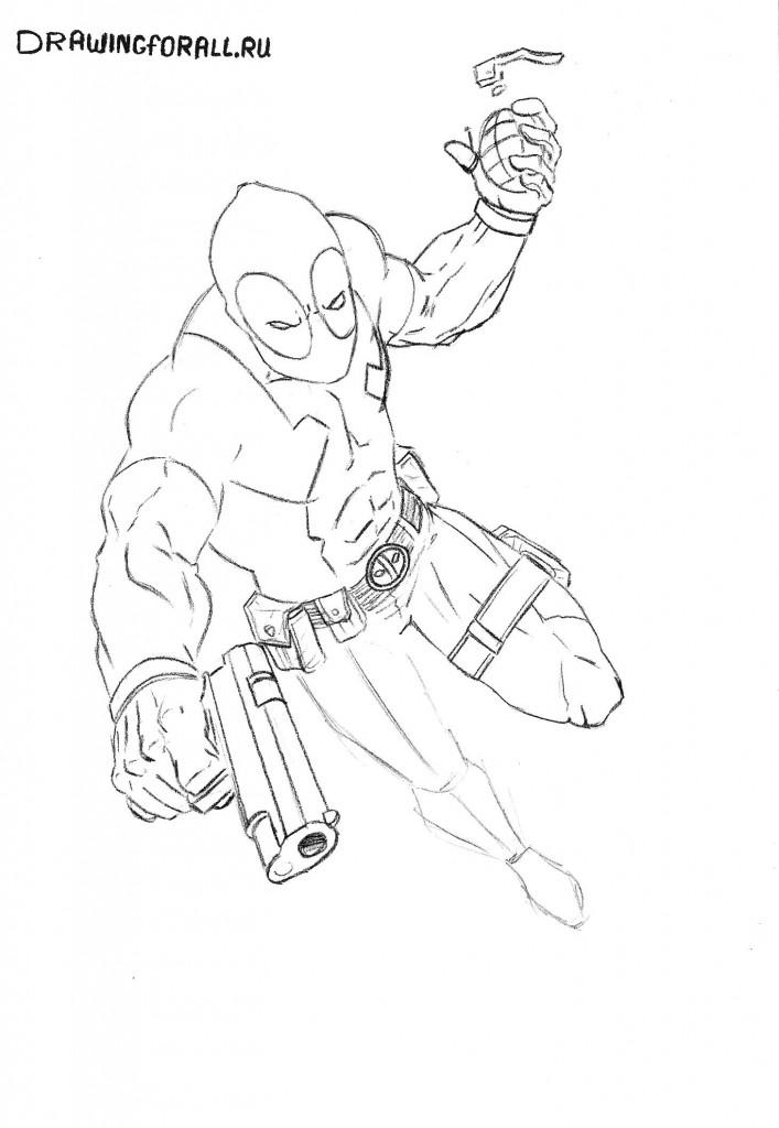 Как нарисовать Дэдпула карандашом
