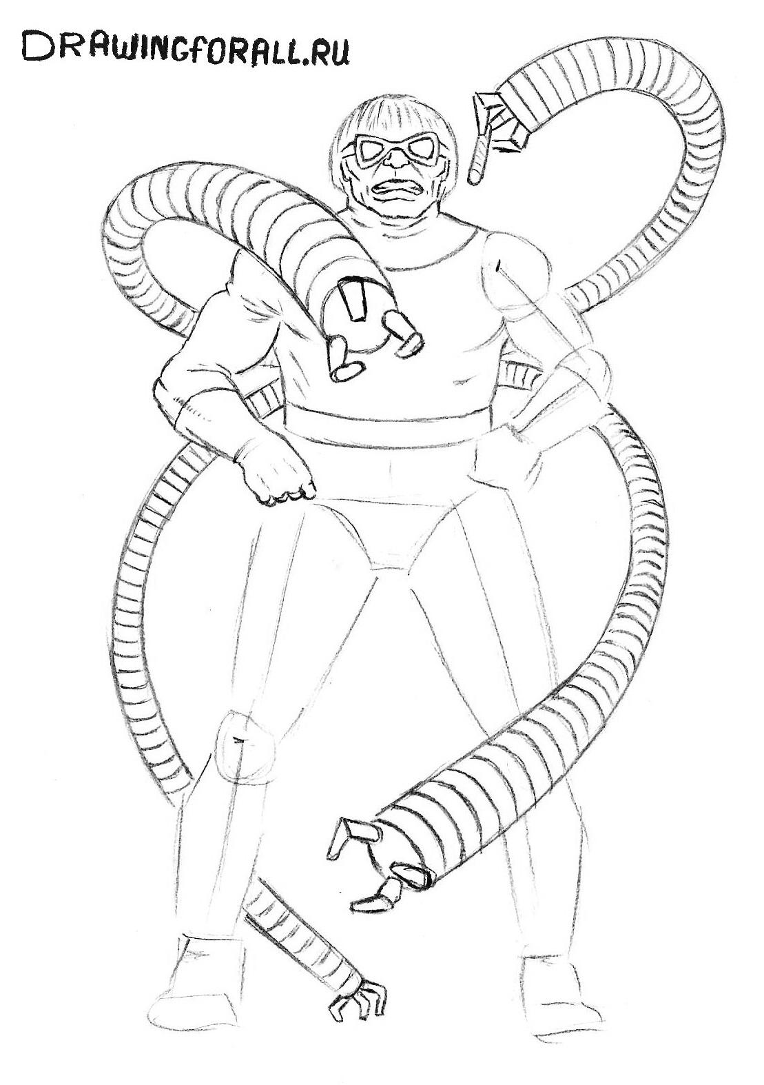 Как нарисовать Доктора Октопуса карандашом поэтапно