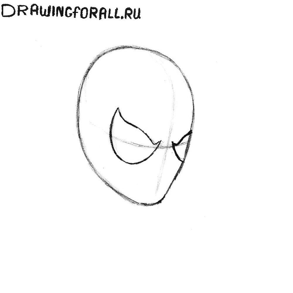 Как нарисовать голову человека паука
