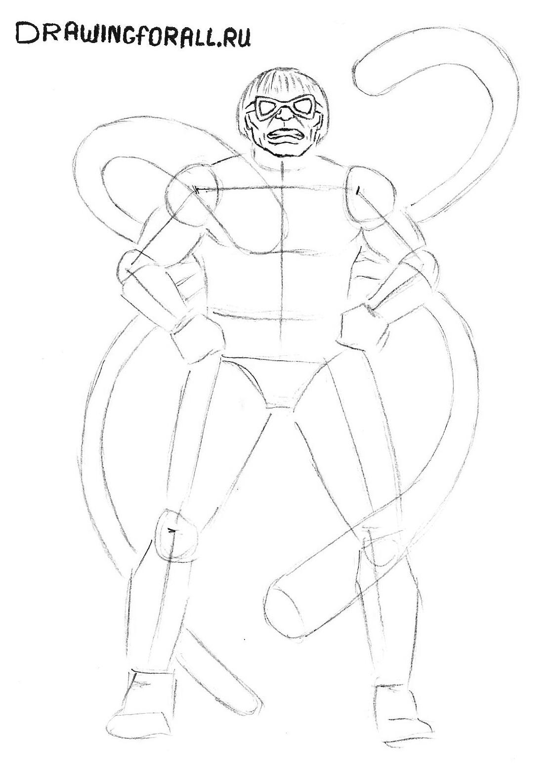 Как нарисовать доктора осьминога карандашом