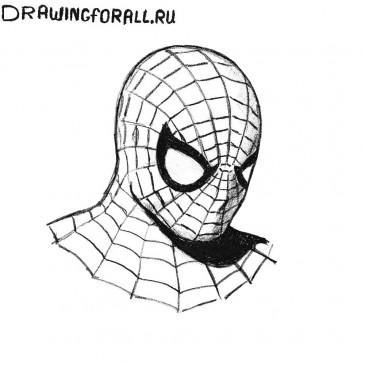 Как нарисовать голову Человека-паука