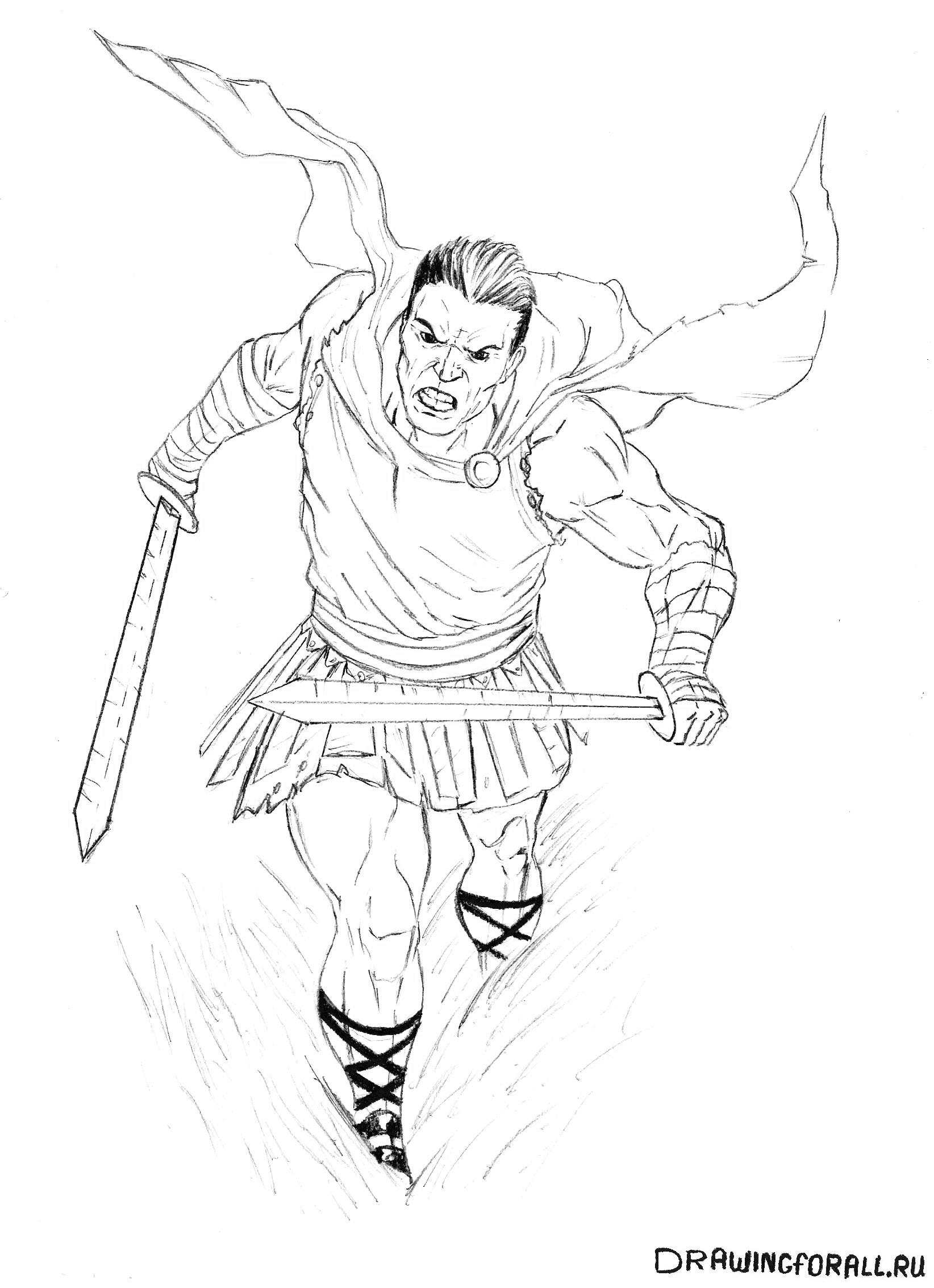 Как рисовать гладиатора