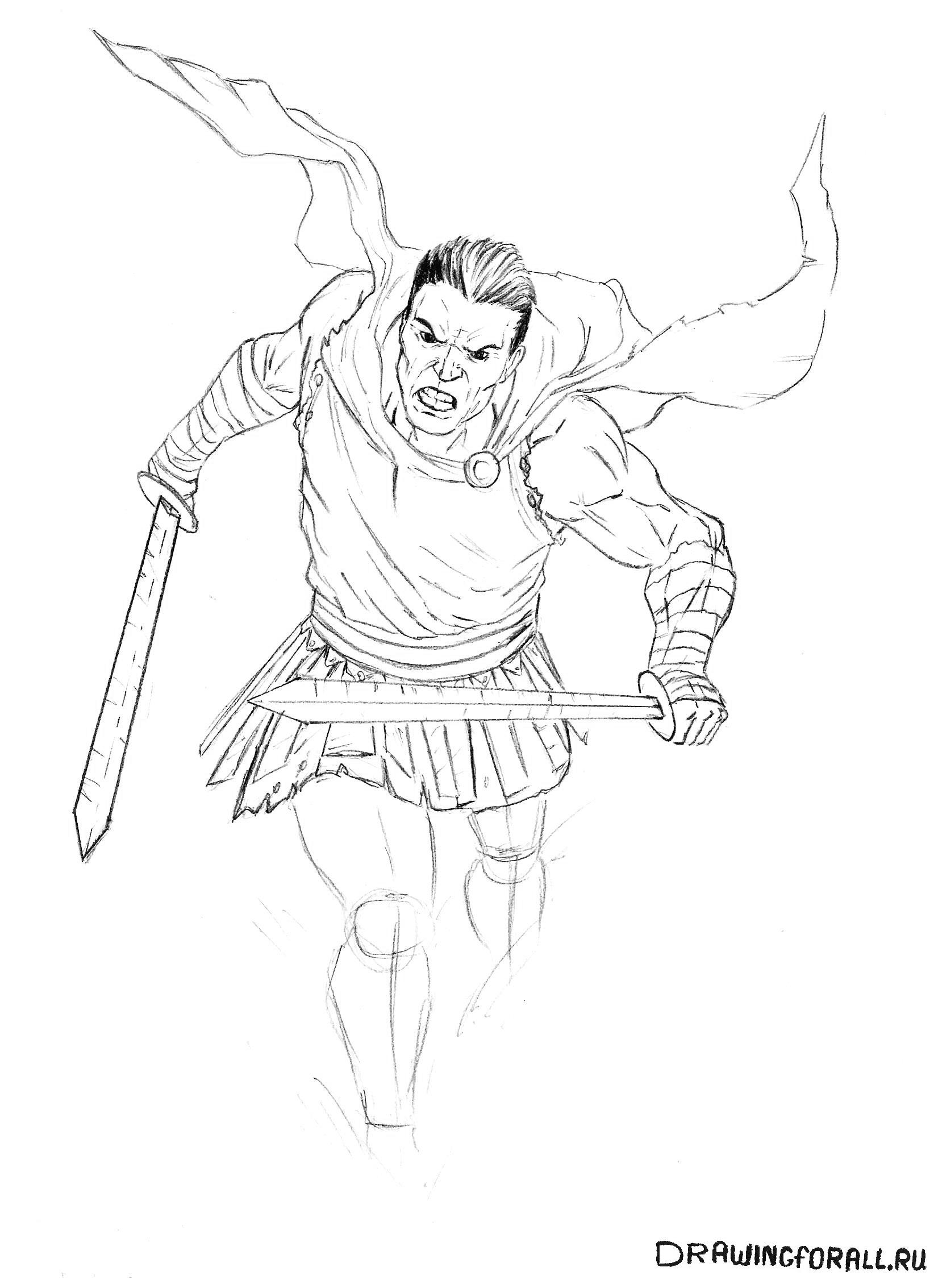 Как рисовать римского воина