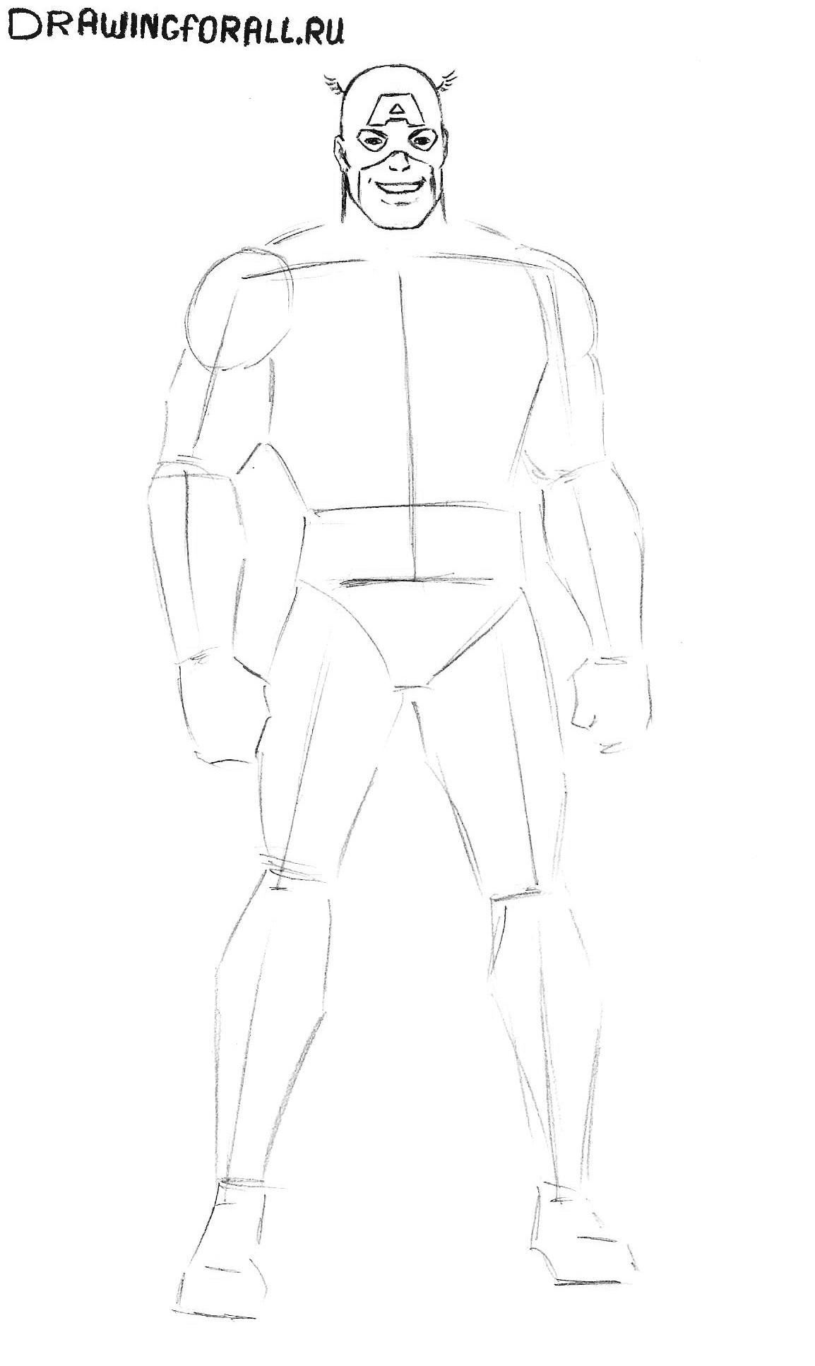Капитан Америка нарисованный карандашом