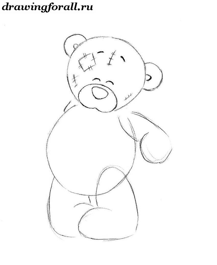 как нарисовать плюшевого медвежонка