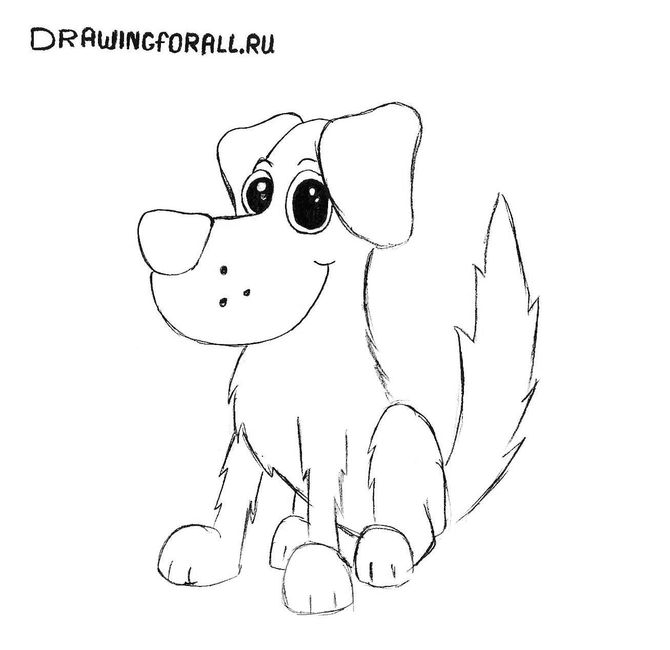 картинки нарисованные собака для детей