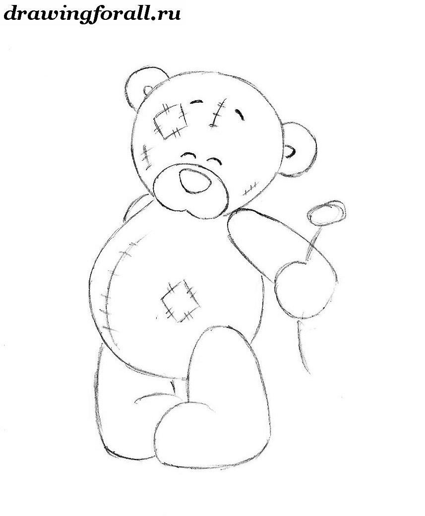 как нарисовать тедди медвежонка