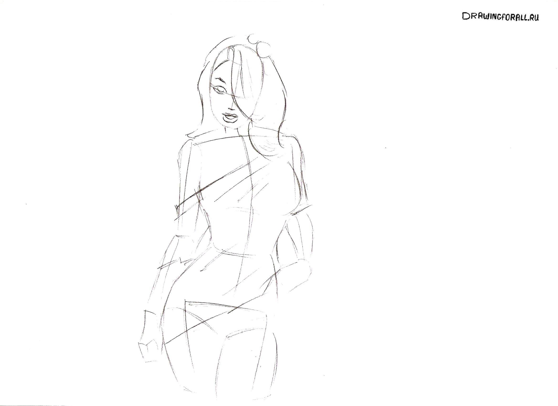 как нарисовать девушку карандашом поэтапно