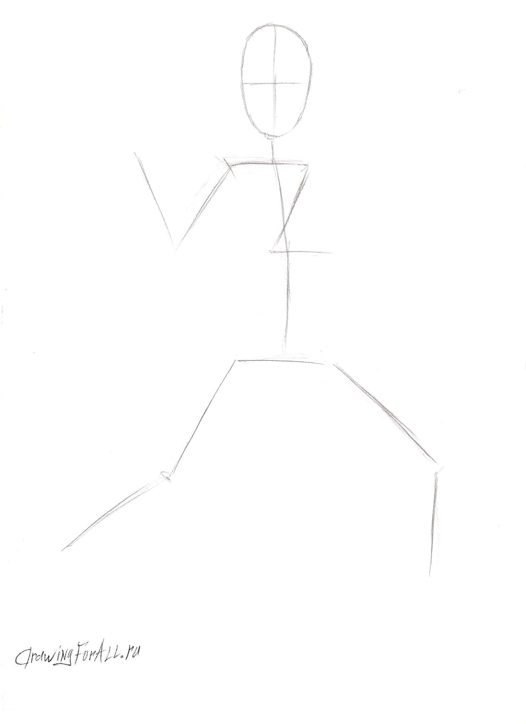 как нарисовать каратиста карандашом