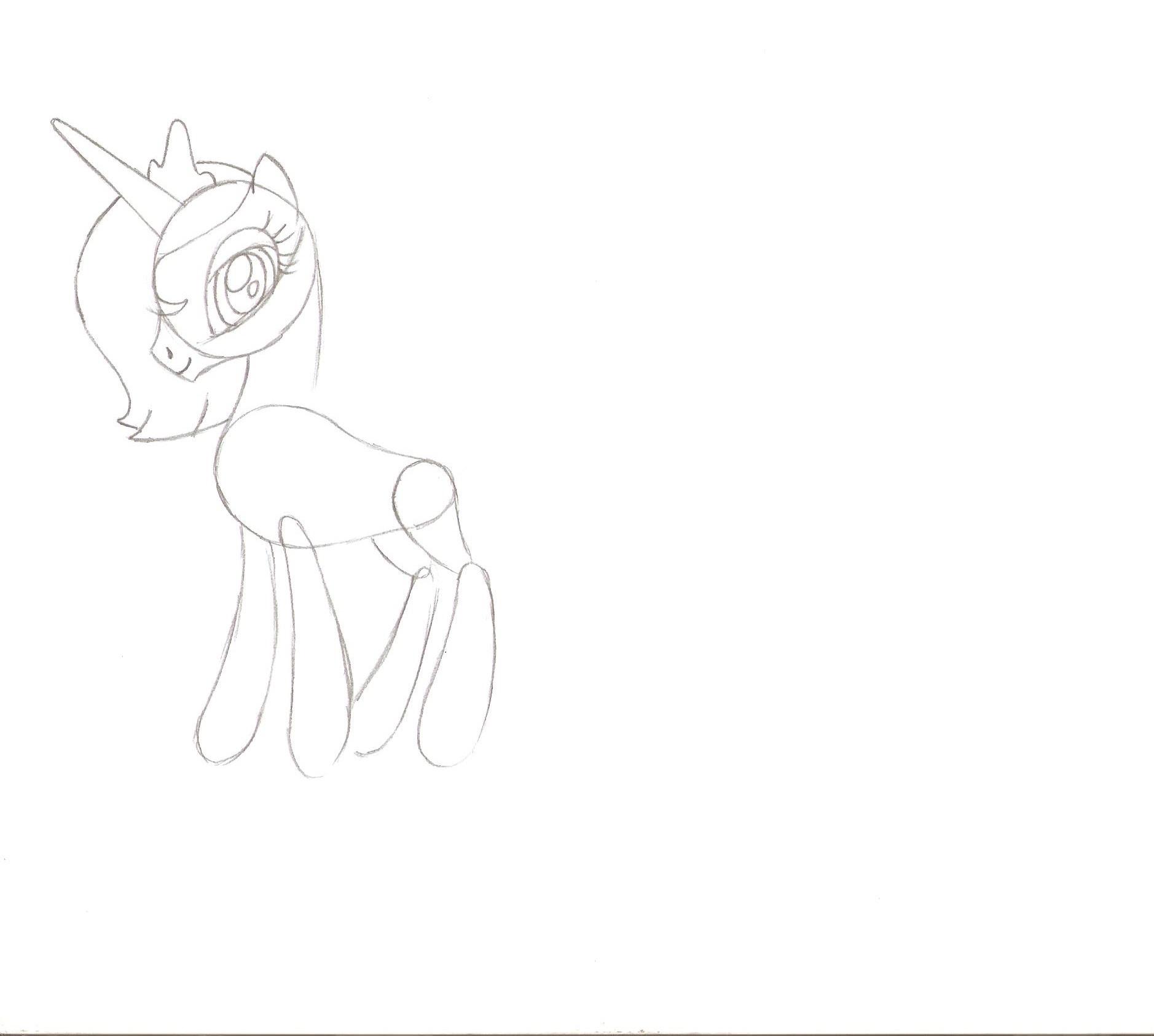 как нарисовать пони принцессу луну карандашом