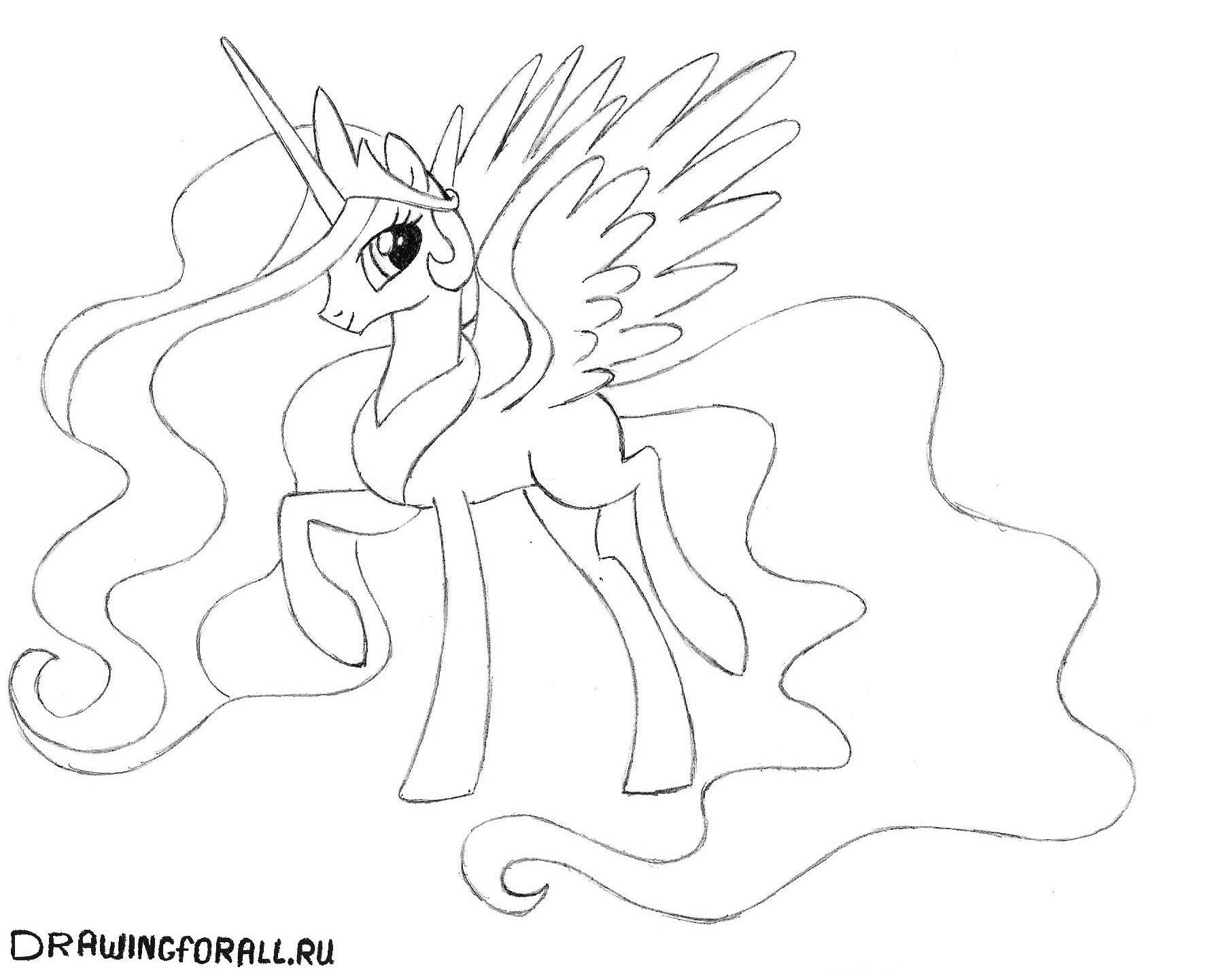Принцесса селестия рисунок карандашом
