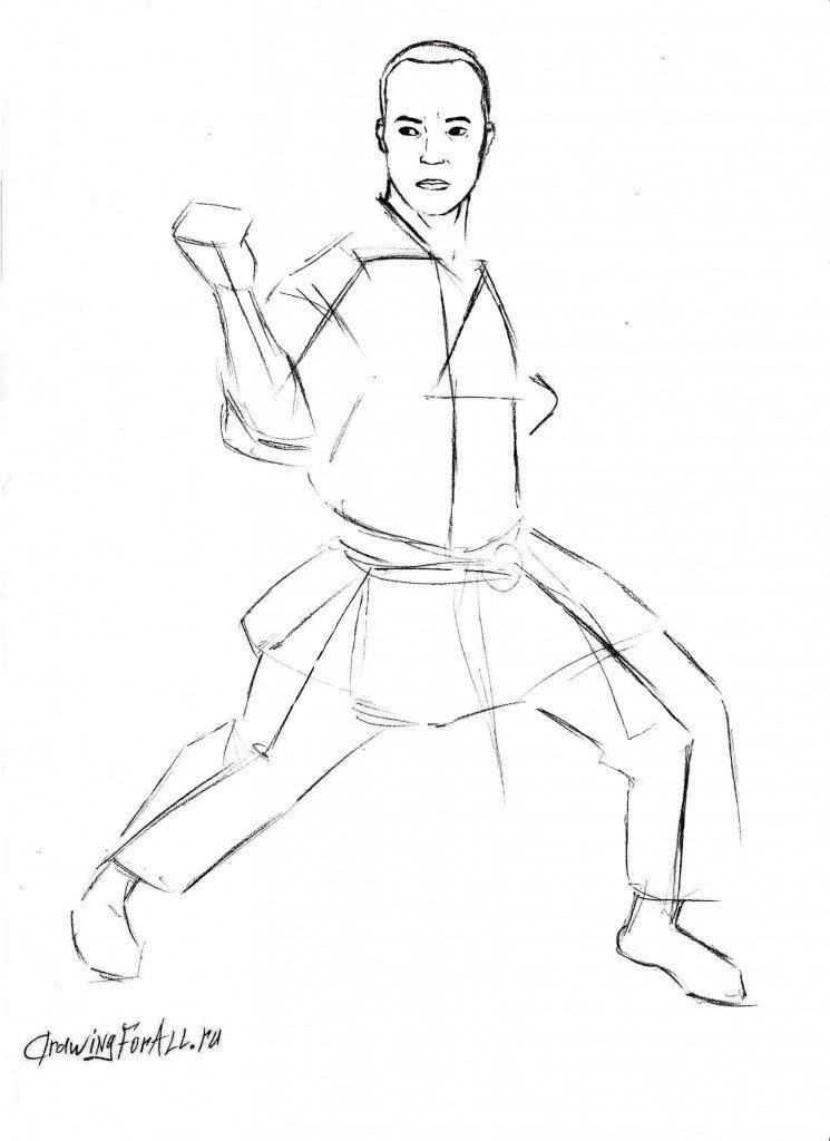 Как нарисовать карате бойца