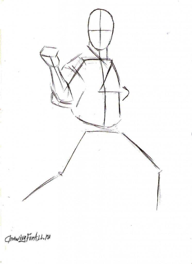 Как нарисовать каратиста поэтапно