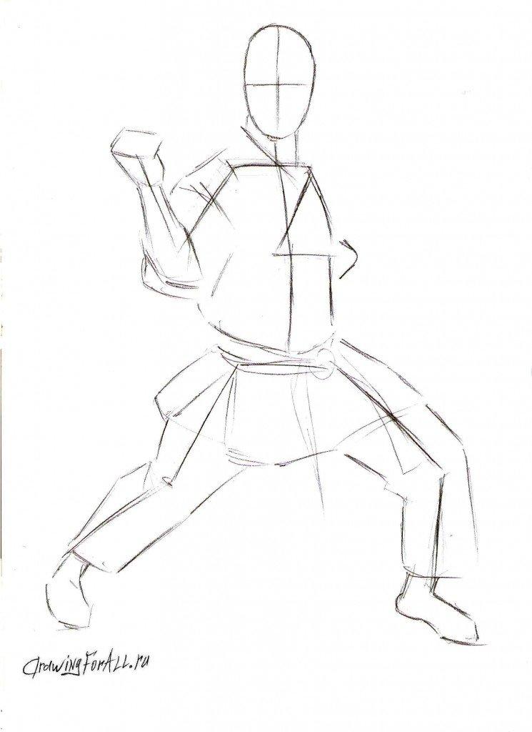 Урок рисования каратиста