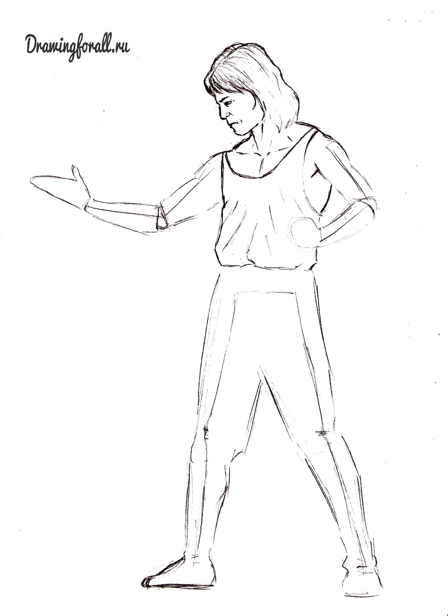 Как нарисовать Лю-Канга карандашом поэтапно