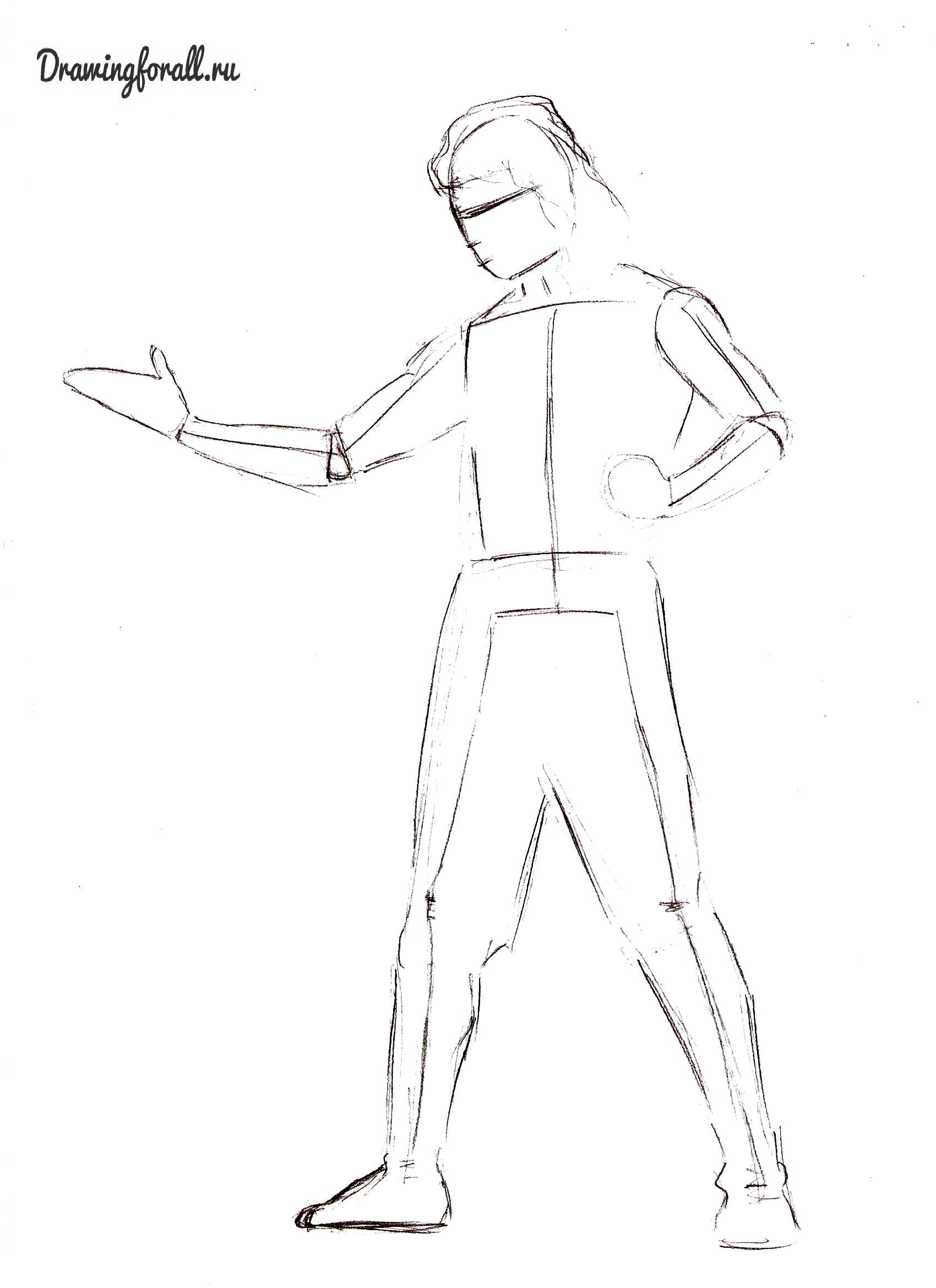 Как нарисовать Лю-Канга карандашом