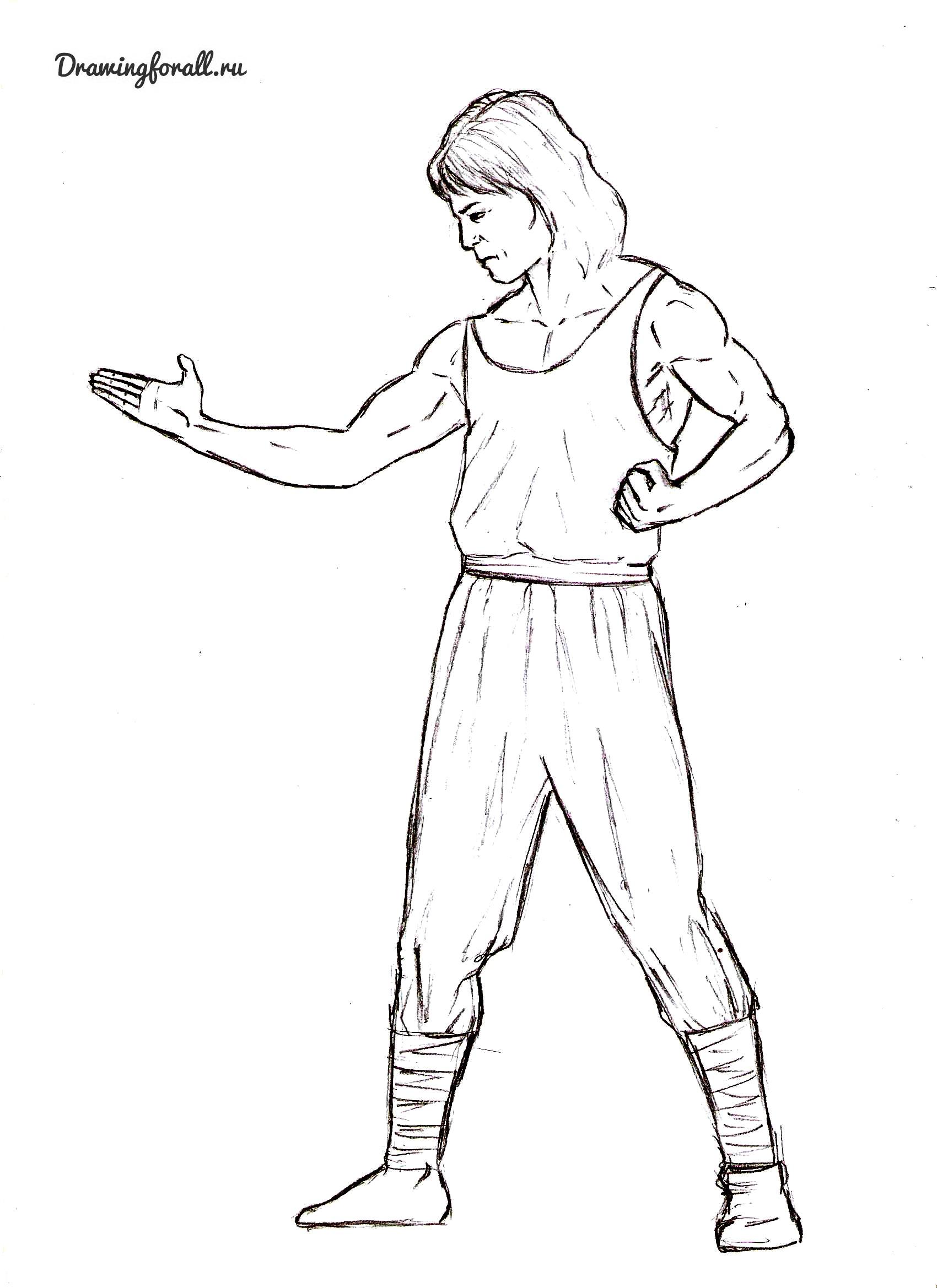 Как нарисовать Лю-Канга