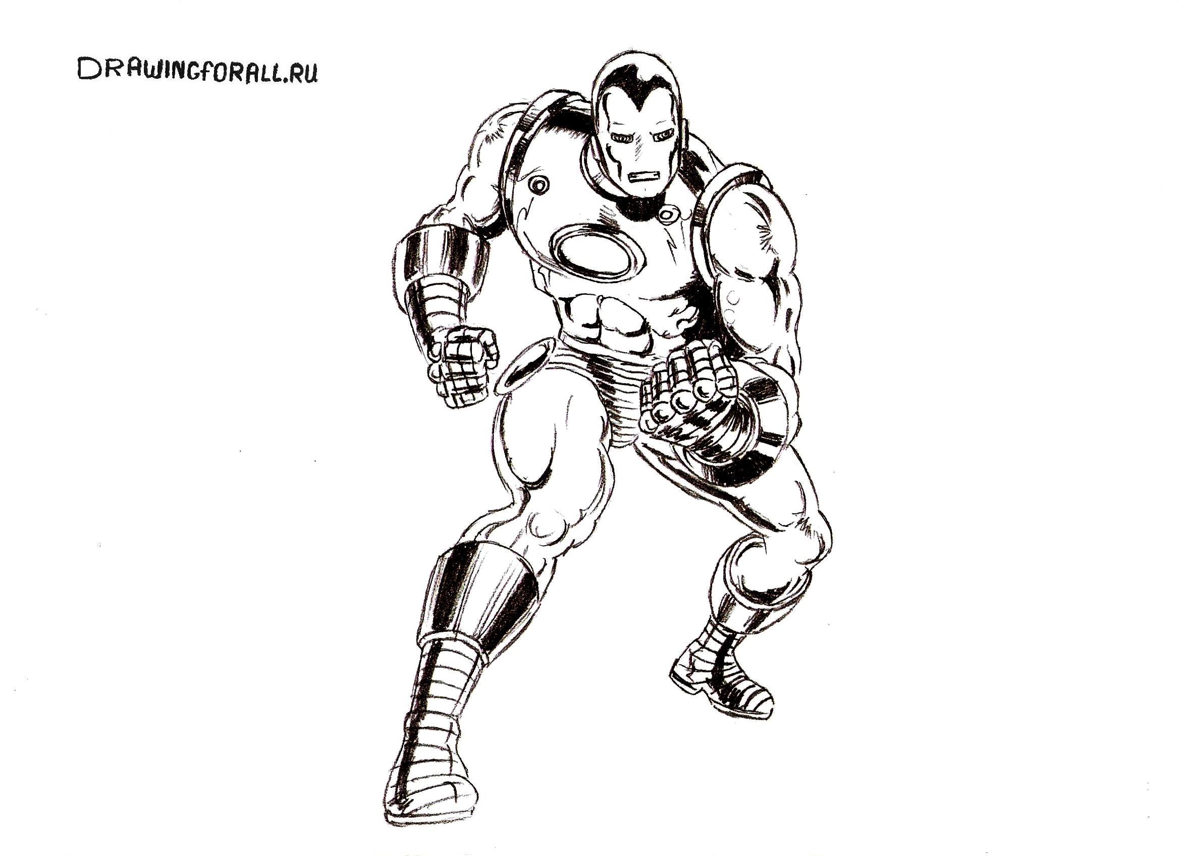 как нарисовать железного человека карандашом
